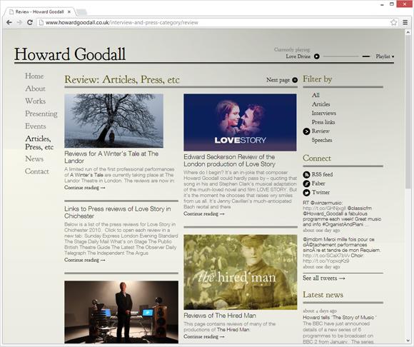 Howard Goodall articles page