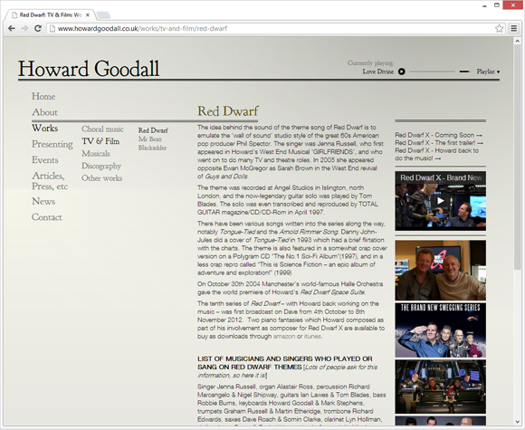 Howard Goodall work page