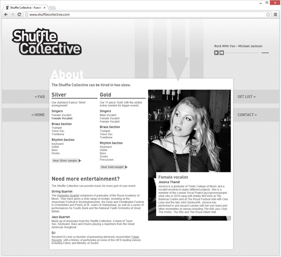 Shuffle Collective about page